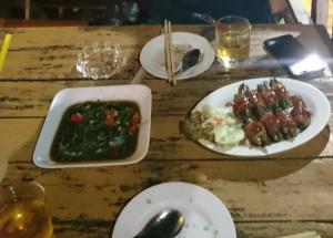 空心菜炒めとベーコンアスパラ