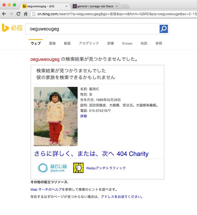 Bing上での行方不明者の情報