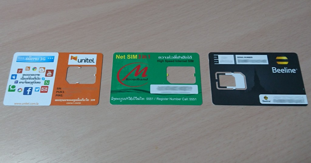 ラオスのSIMカードたち
